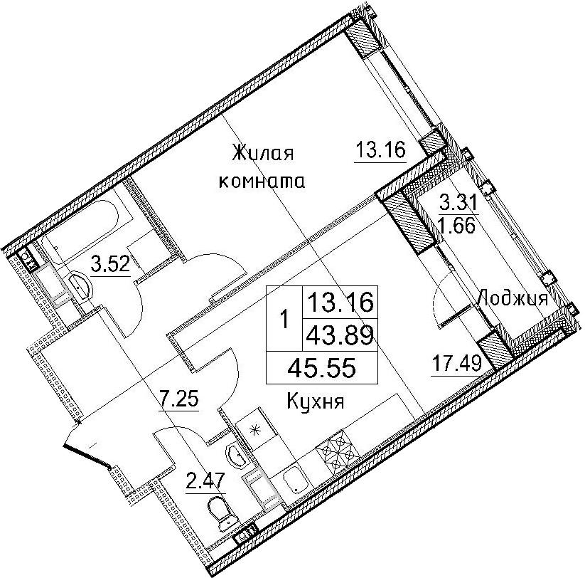 2-к.кв (евро), 47.21 м²