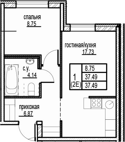 2-к.кв (евро), 37.49 м²
