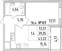 2-комнатная 43 м<sup>2</sup> на 1 этаже