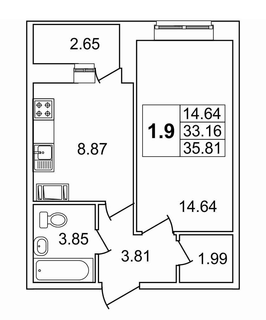 1-к.кв, 35.81 м²