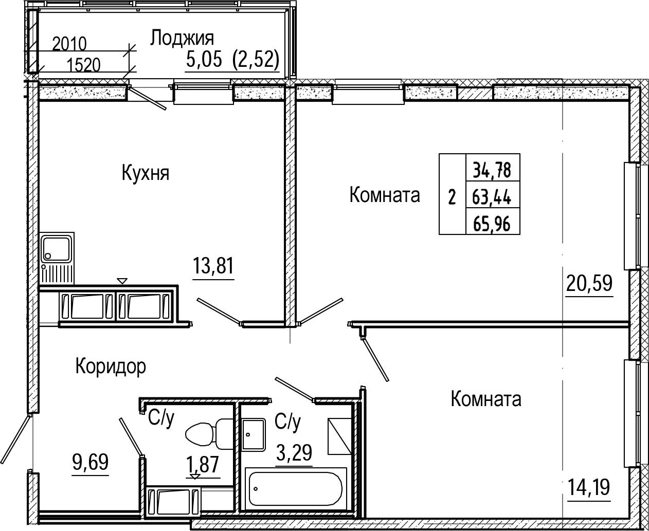 2-комнатная 68 м<sup>2</sup> на 16 этаже