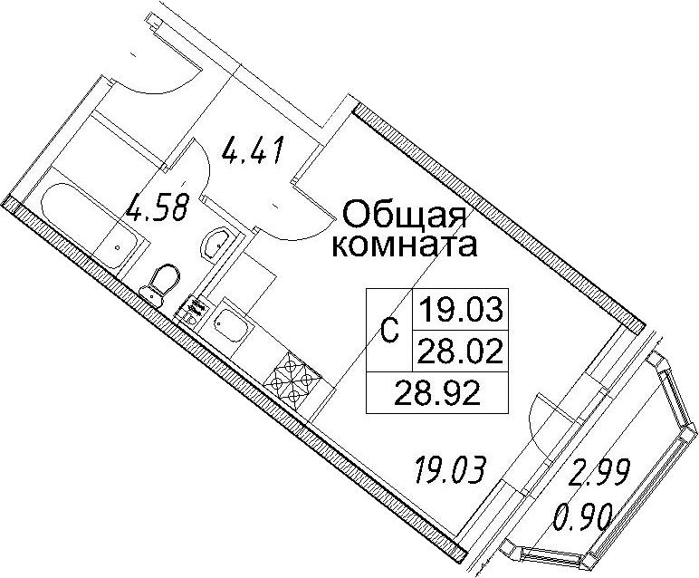 Студия, 31.02 м²