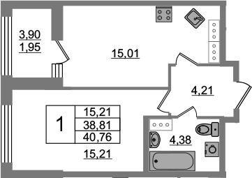 2-комнатная 42 м<sup>2</sup> на 21 этаже