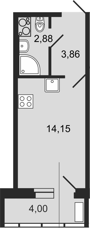 Студия 24 м<sup>2</sup> на 14 этаже