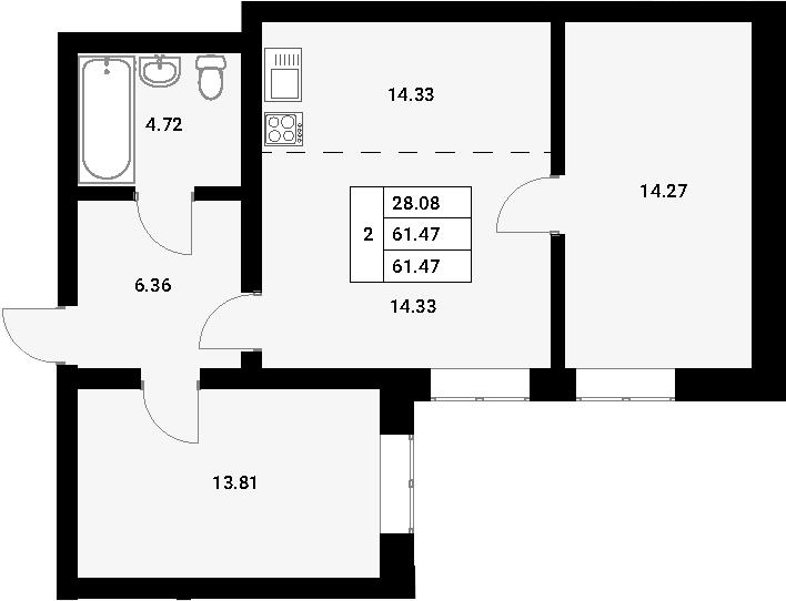 3-к.кв (евро), 61.47 м²