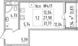 Студия, 31.77 м²