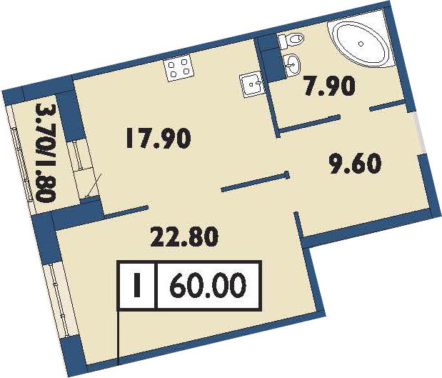 2-к.кв (евро), 61.8 м²