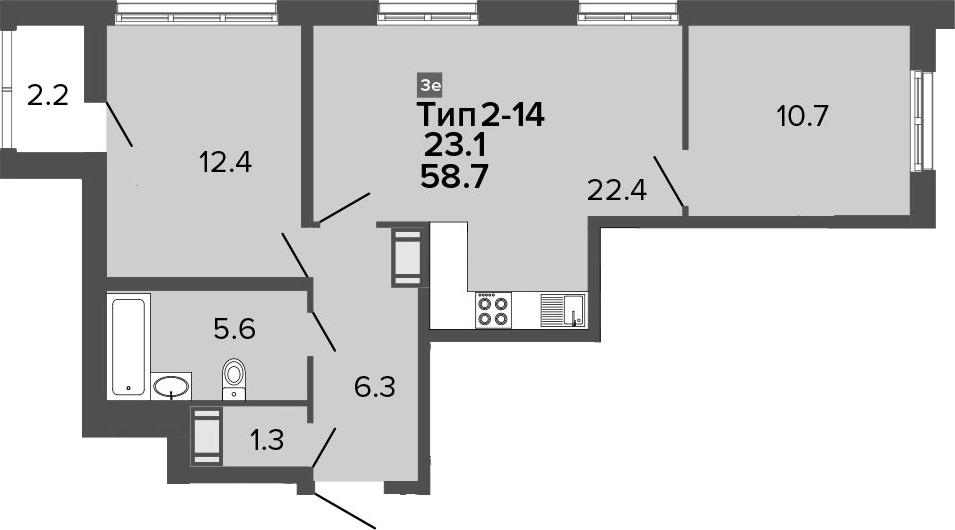 3-комнатная 60 м<sup>2</sup> на 6 этаже