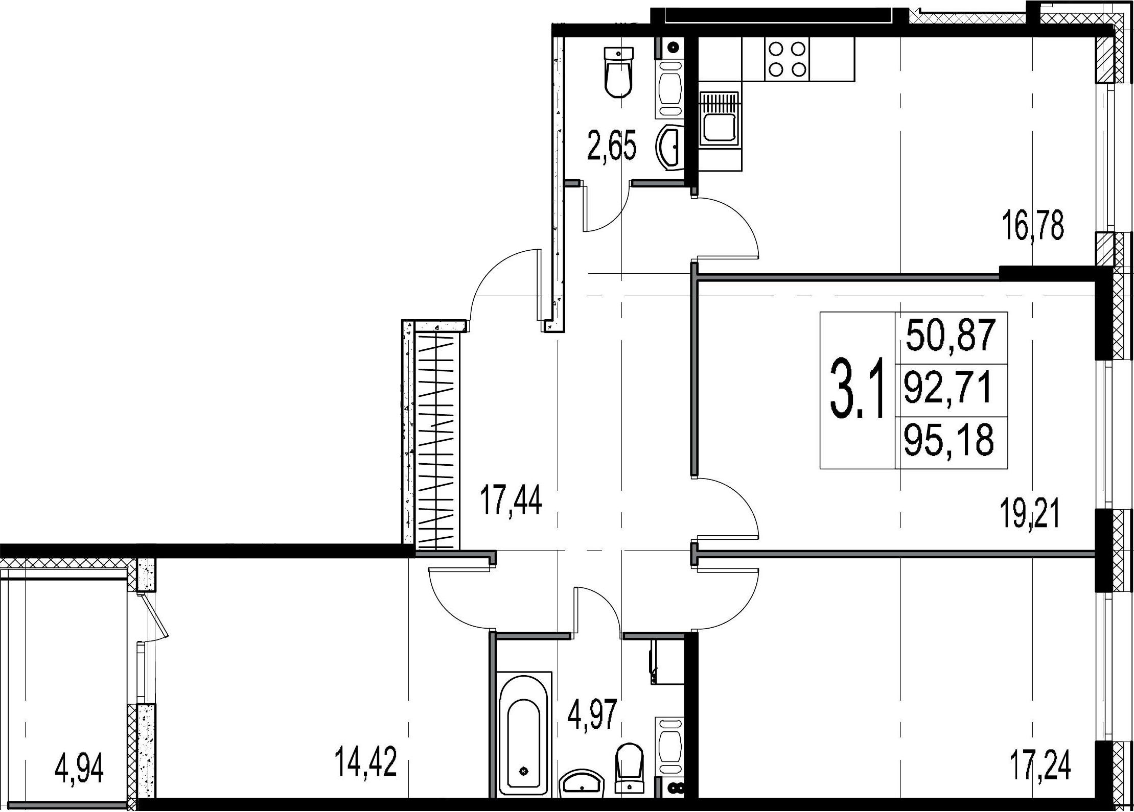 3-комнатная 97 м<sup>2</sup> на 8 этаже