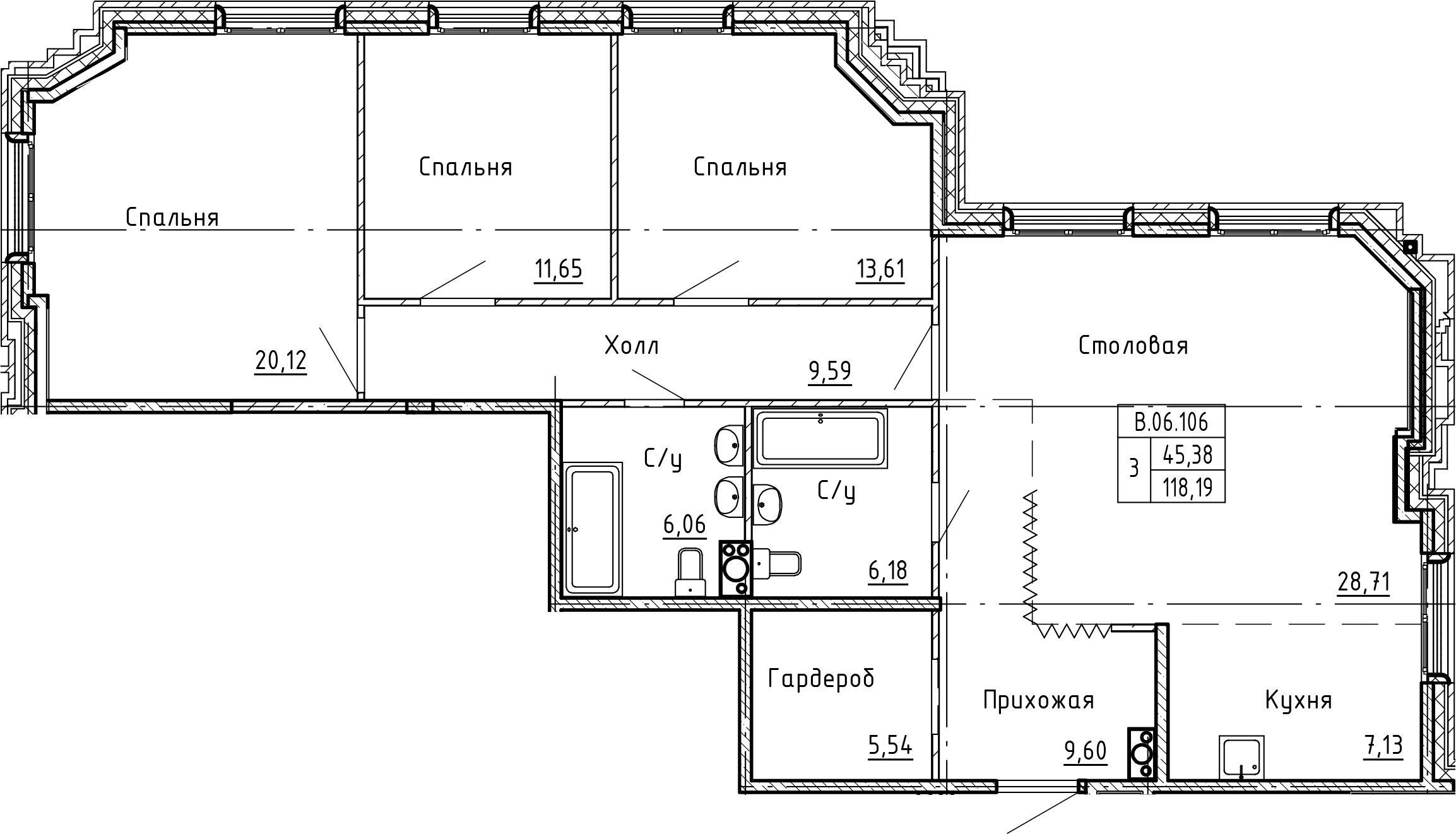 4-комнатная 118 м<sup>2</sup> на 6 этаже