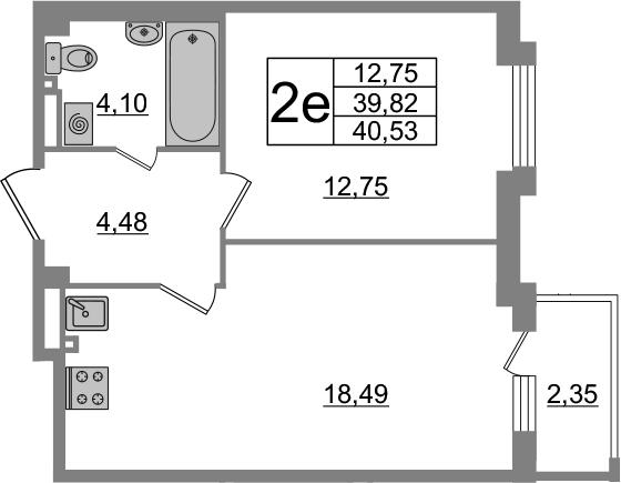 2-комнатная 42 м<sup>2</sup> на 5 этаже