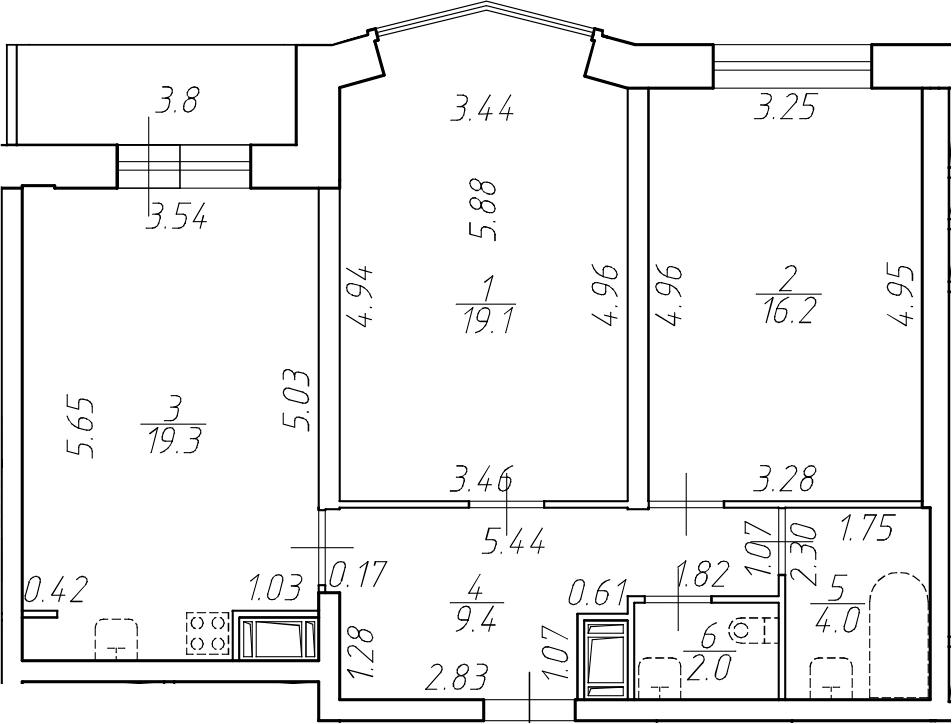 3-комнатная 73 м<sup>2</sup> на 2 этаже