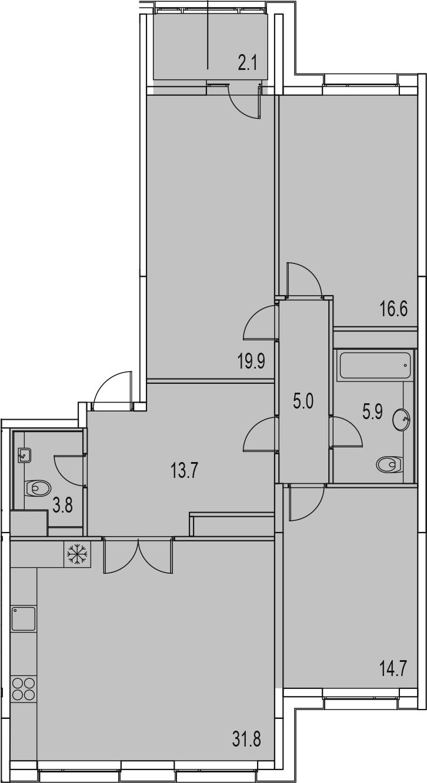 4-комнатная 115 м<sup>2</sup> на 12 этаже