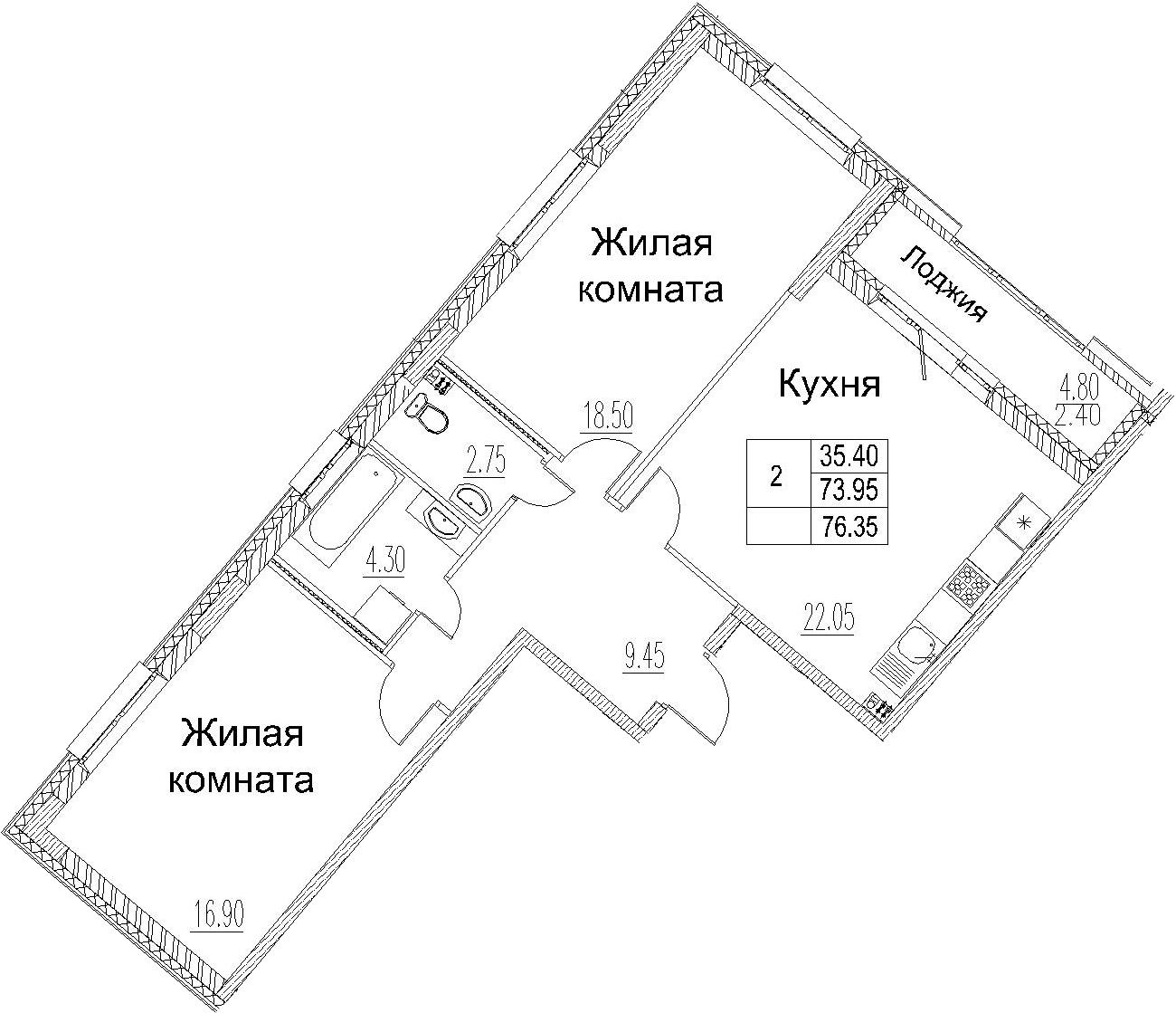 3-комнатная 78 м<sup>2</sup> на 2 этаже