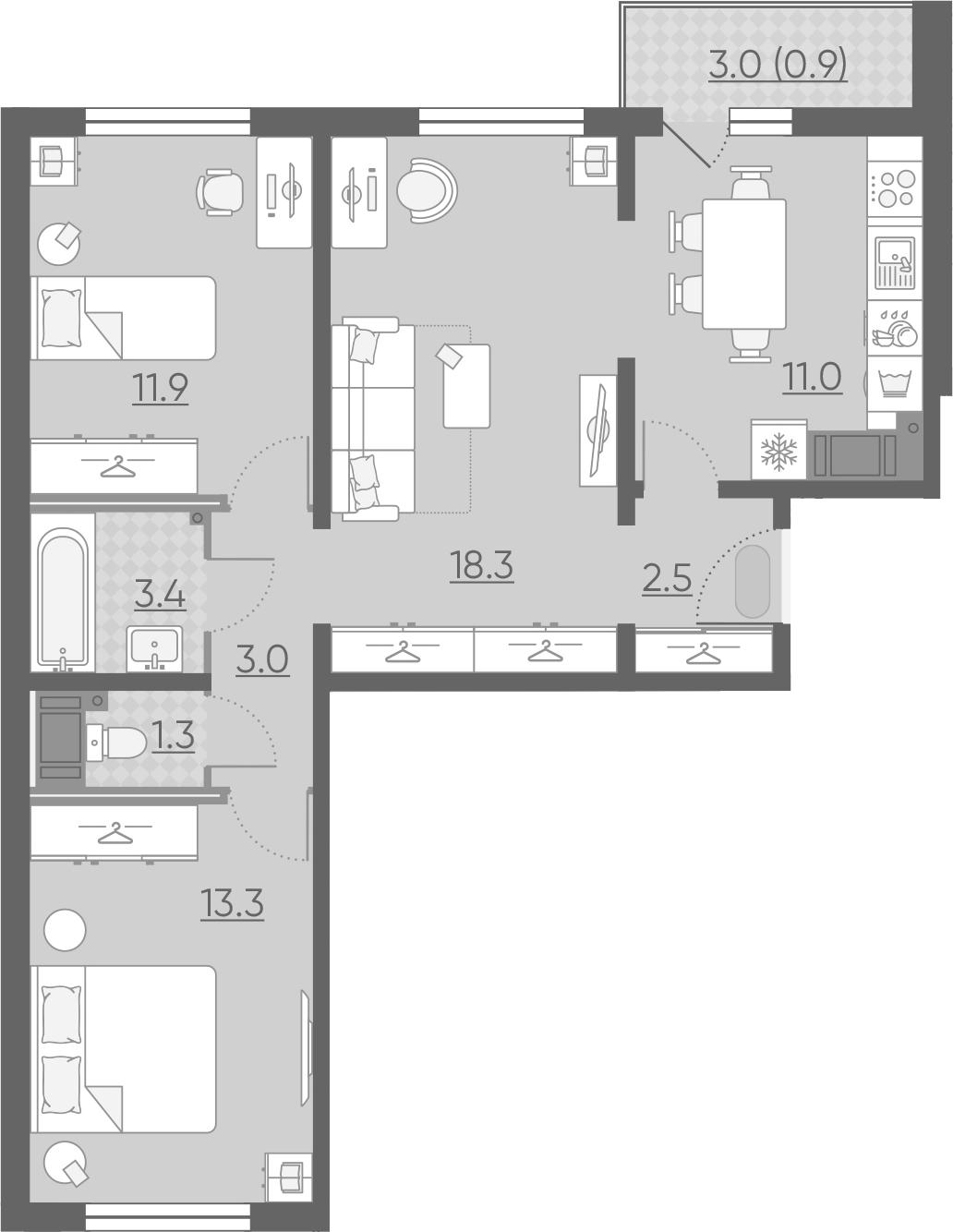 3-комнатная 67 м<sup>2</sup> на 14 этаже