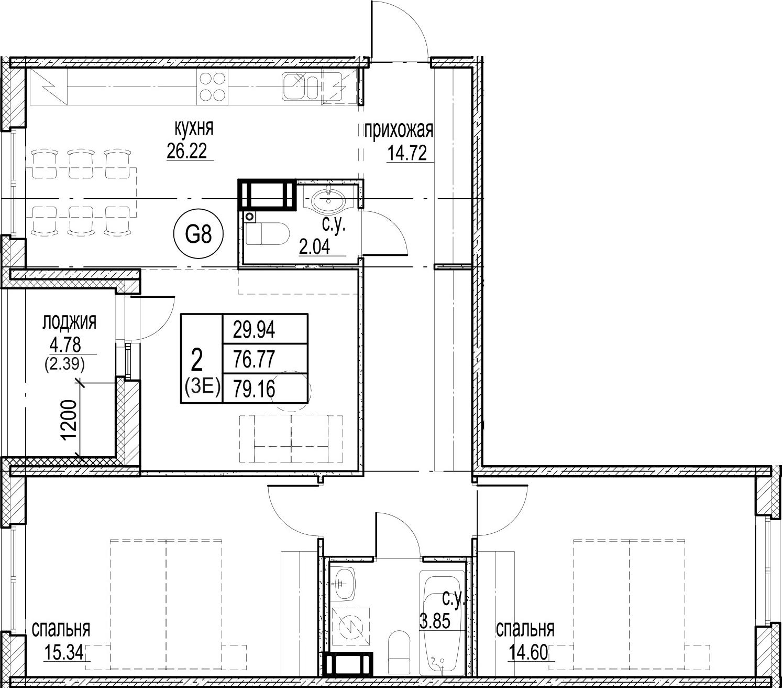 3-комнатная 81 м<sup>2</sup> на 11 этаже