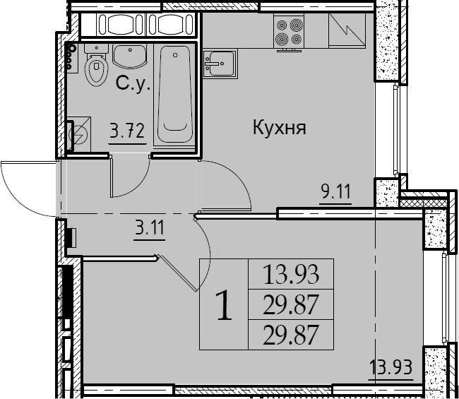 1-комнатная 29 м<sup>2</sup> на 1 этаже