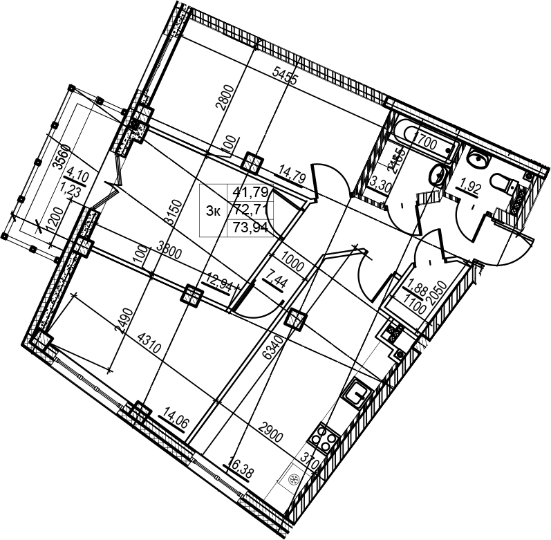 4-комнатная 76 м<sup>2</sup> на 5 этаже