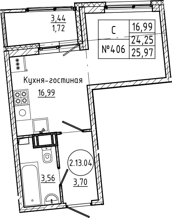 Студия 27 м<sup>2</sup> на 13 этаже