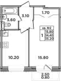 1-к.кв, 36.9 м²