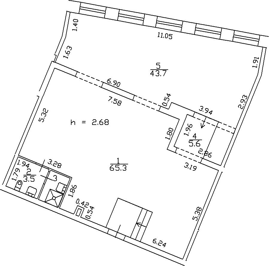 1-комнатная 120 м<sup>2</sup> на 2 этаже