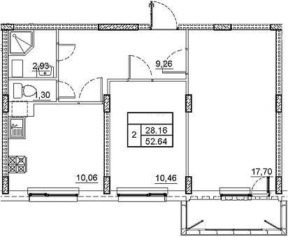 2-комнатная 54 м<sup>2</sup> на 3 этаже