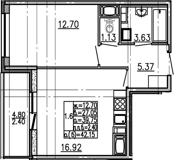 2-комнатная 44 м<sup>2</sup> на 18 этаже