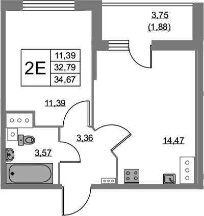 2-комнатная 36 м<sup>2</sup> на 24 этаже