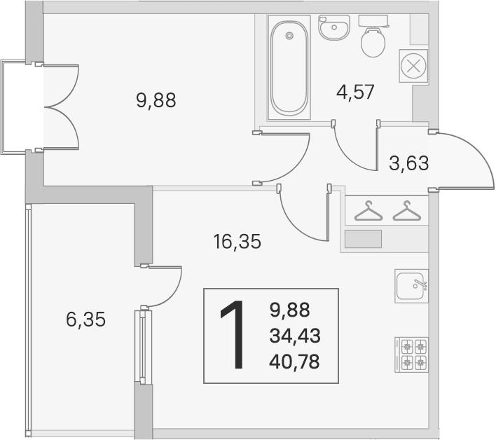 2-комнатная 40 м<sup>2</sup> на 4 этаже