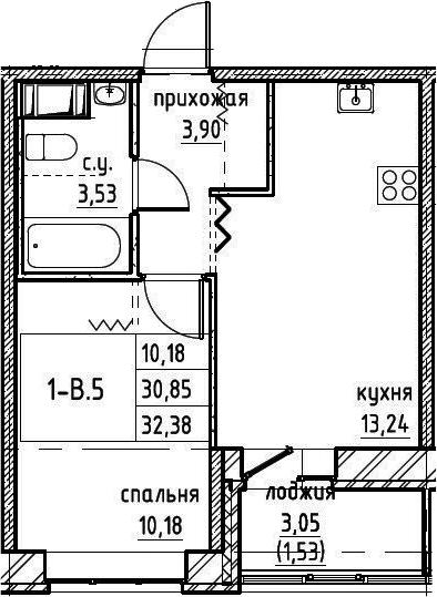 2-комнатная 33 м<sup>2</sup> на 2 этаже