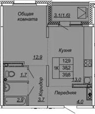 1-комнатная 41 м<sup>2</sup> на 9 этаже