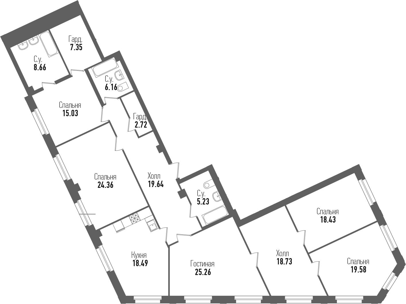 4-комнатная 189 м<sup>2</sup> на 2 этаже