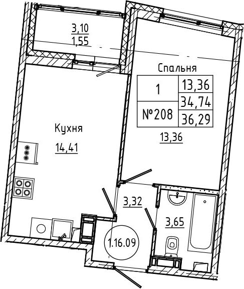 1-комнатная 37 м<sup>2</sup> на 16 этаже