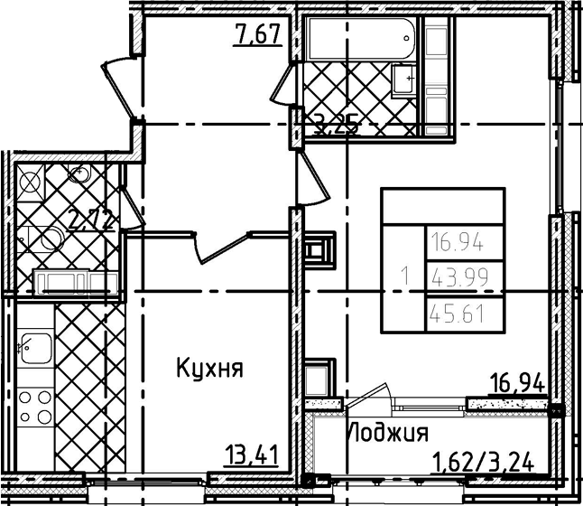 1-комнатная 47 м<sup>2</sup> на 22 этаже