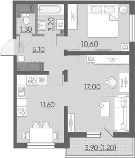 2-комнатная 52 м<sup>2</sup> на 20 этаже