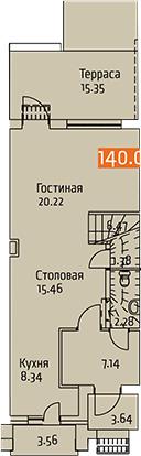 Таунхаусы, 146.02 м²