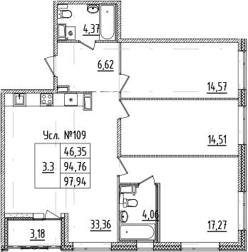 4-комнатная 97 м<sup>2</sup> на 6 этаже