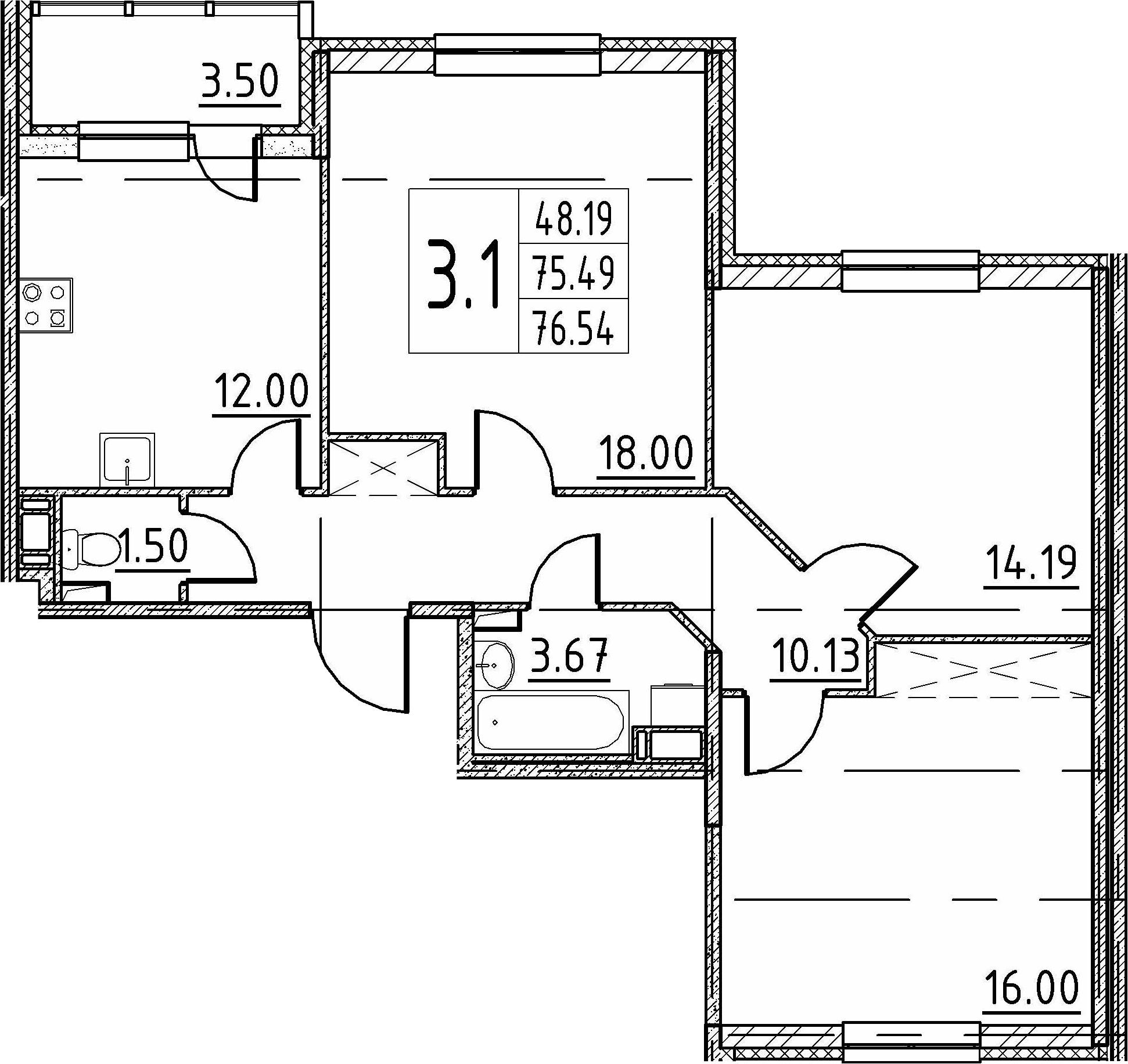 3-комнатная 78 м<sup>2</sup> на 4 этаже