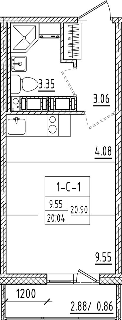 Студия, 23.26 м²