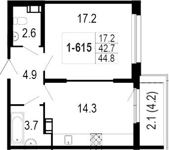 1-комнатная 47 м<sup>2</sup> на 6 этаже