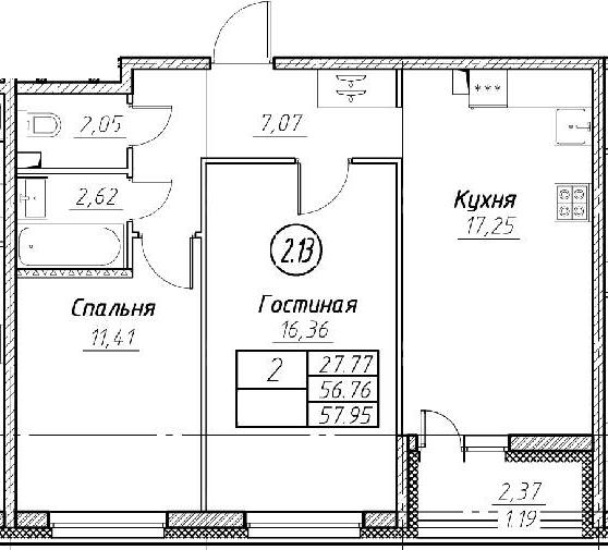 3-комнатная 59 м<sup>2</sup> на 1 этаже