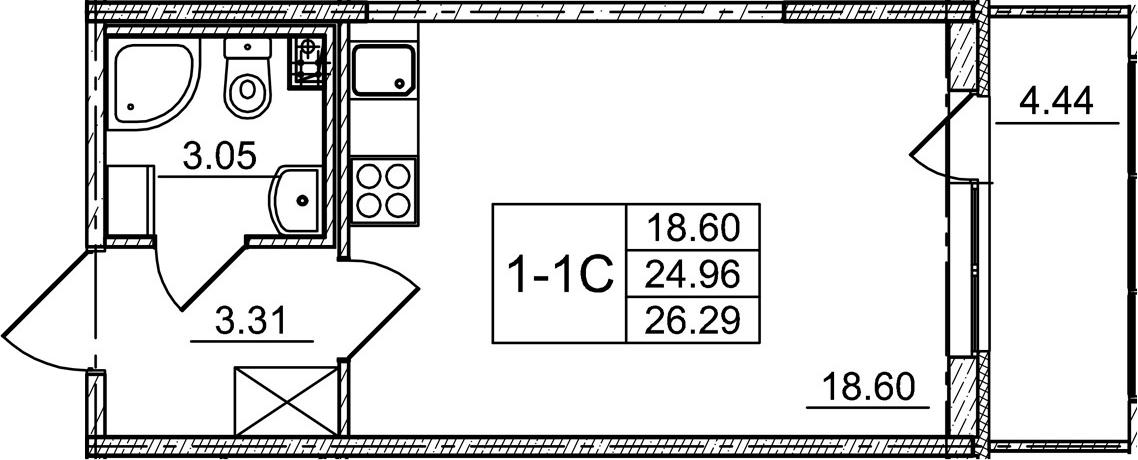 Студия 29 м<sup>2</sup> на 1 этаже