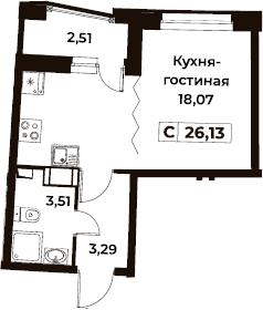 Студия 27 м<sup>2</sup> на 2 этаже