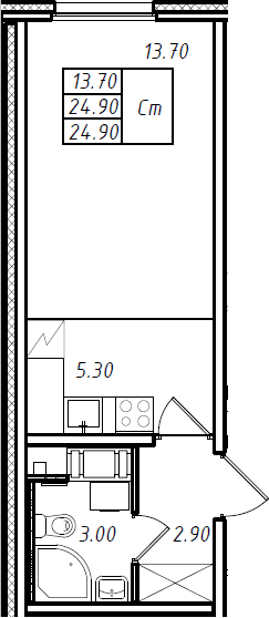 Студия 24 м<sup>2</sup> на 9 этаже