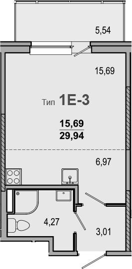 Студия 35 м<sup>2</sup> на 2 этаже