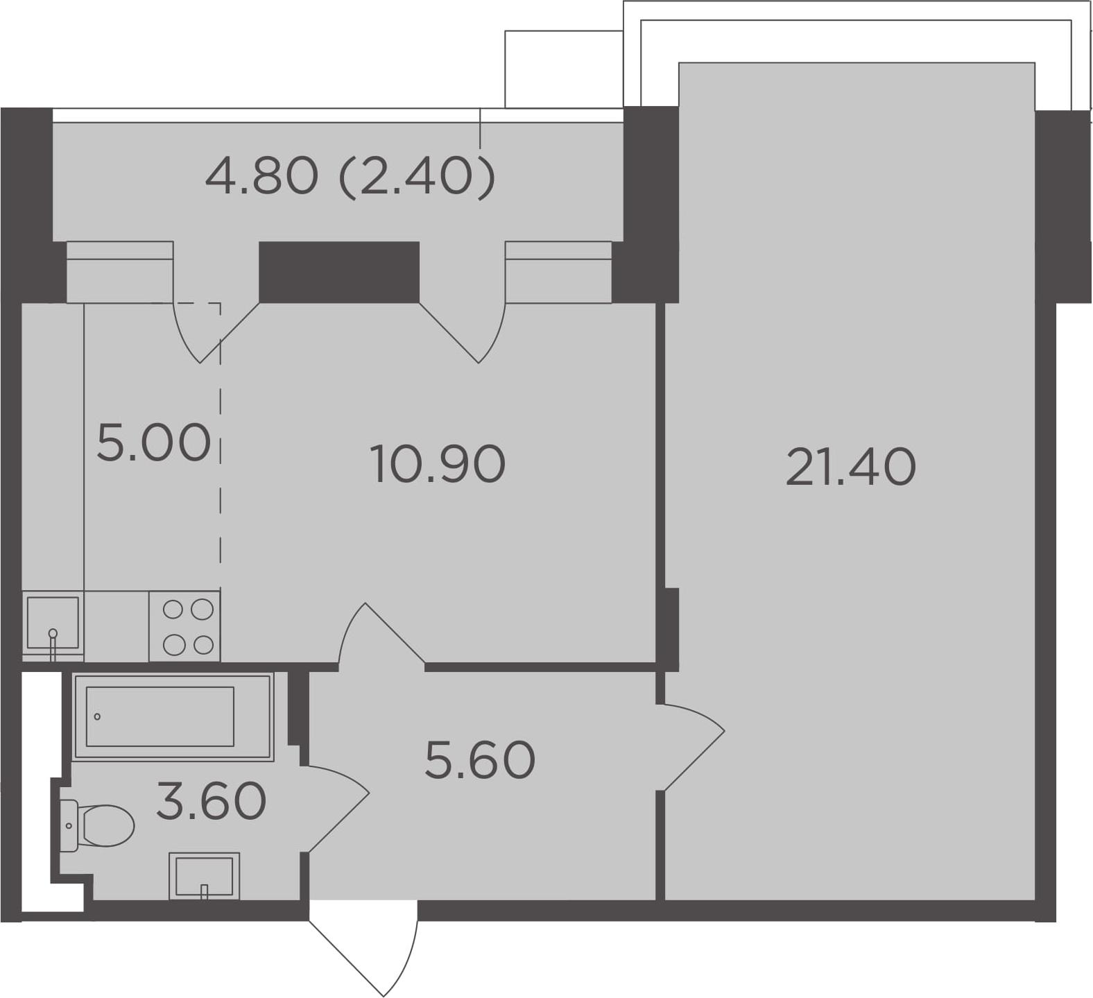 2-к.кв (евро), 51.3 м²