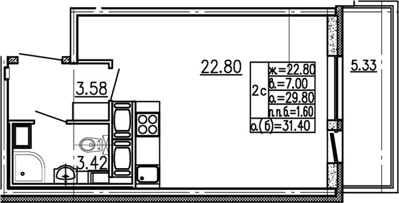 Студия 35 м<sup>2</sup> на 13 этаже