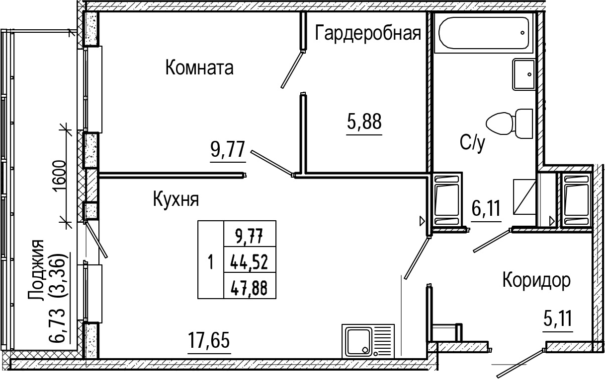 2-комнатная 51 м<sup>2</sup> на 20 этаже