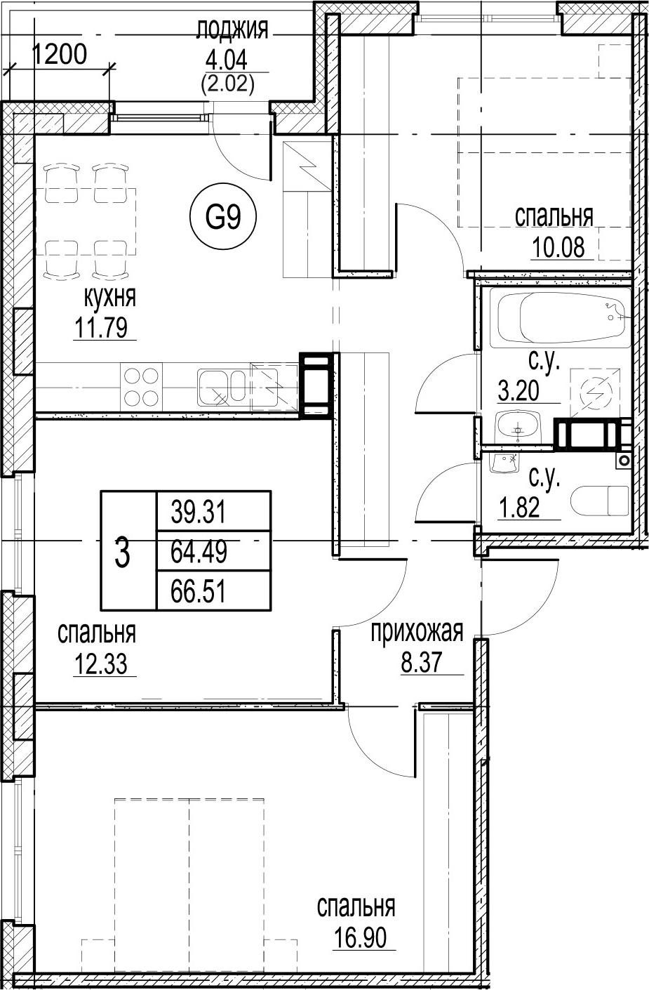 3-комнатная 68 м<sup>2</sup> на 3 этаже