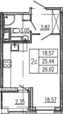 Студия 27 м<sup>2</sup> на 8 этаже